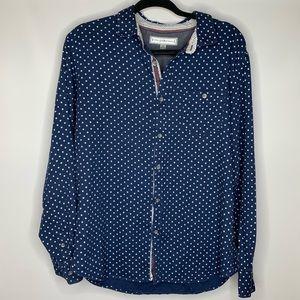 PD&C Button Down Long Sleeve Shirt Dark Blue white